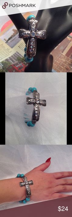 Silver Rhinestone Cross Bracelet New Listing: 2/11/17: Featuring blue turquoise beads and rhinestones on a stretch setting, this bracelet is gorgeous and so meaningful. (This closet does not trade or use PayPal) Boutique Jewelry Bracelets