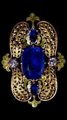 An Art Nouveau Sapphire & Enamel Brooch by Tiffany & Co.