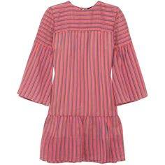 Vanessa Seward Danaide striped silk-jacquard mini dress (1.575 BRL) ❤ liked on Polyvore featuring dresses, vestidos, pink, stripe dress, short silk dress, bell sleeve mini dress, silk mini dress and pink dress