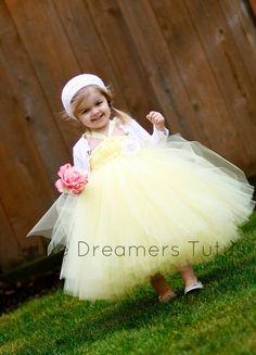Sweetl Yellow Flower Girl Tutu Dress by littledreamersinc on Etsy