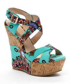 Another great find on #zulily! Aqua Arabesque Flamingo Wedge #zulilyfinds