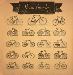 37 Retro Bicycles Raster and Vector  @adobeResources