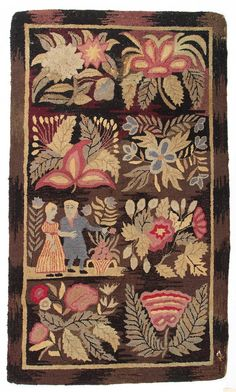 """AMERICAN HOOKED SCATTER RUG, brown and mauve field, eight blocks comprising a man and woman in romantic setting, remaining with a floral bouquet/spray pattern. Fourth quarter 19th/early 20th century. 2' 11"""" x 5' 1""""."""
