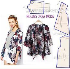 Sewing tops for women diy costura 58 Ideas Motif Kimono, Kimono Pattern, Cardigan Pattern, Jacket Pattern, Fashion Sewing, Diy Fashion, Ideias Fashion, Diy Clothing, Sewing Clothes