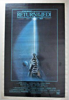 "RETURN of the JEDI, Original 1983 27X41"" Movie Poster, Vintage Star Wars Poster, Star Wars Trilogy, Star Citizen, Star Wars Poster, Star Wars Art, Movie Poster Room, Anthony Daniels, Billy Dee Williams, Cinema Theatre, Mark Hamill, George Lucas"