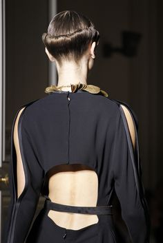 Elegant tailored jumpsuit with cut out back & sliced sleeves; fashion details // Saint Laurent Spring 2011