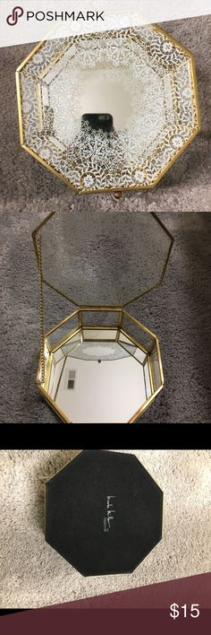 Jewelry Box Beautiful gold and white lace print jewelry box with a mirrored bottom. It is in excellent condition. Looks beautiful open or closed on a dresser. Reasonable offers accepted 😊😊 Other