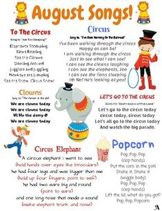 August songs and finger plays! This resource can be used for circle time in a daycare, preschool, Pr Preschool Circus, Preschool Poems, Kindergarten Songs, Preschool Music, Preschool Lesson Plans, Preschool Learning, Kindergarten Classroom, Preschool Activities, Infant Lesson Plans
