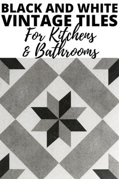 Vintage black, white and gray tiles for kitchens and bathrooms. Perfect for a retro, farmhouse and antique styles. Diy Room Decor, Living Room Decor, Wall Decor, Home Decor, Vintage Tile, Vintage Black, Above Kitchen Cabinets, Grey Tiles, Luxury Vinyl Plank