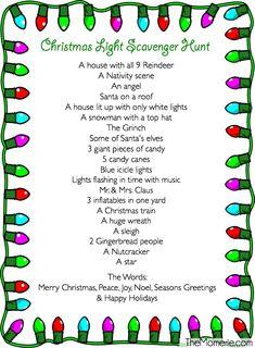 Christmas Light Scavenger Hunt & The Momerie Holiday Games, Christmas Party Games, Christmas Activities, Christmas Projects, Christmas Traditions, Holiday Fun, Christmas Ideas, Christmas Birthday, Christmas Events