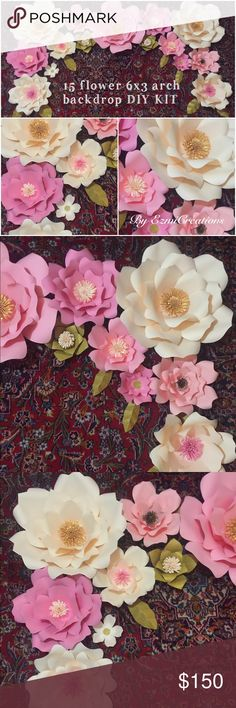 DIY paper flower backdrop kit Make your own paper flower backdrop with this amazing diy kit , flowers are precut. Ready to be assembled, easy as 1-2-3  every thing in picture included  make the party stand out with this beautiful dessert table backdrop or picture booth Other
