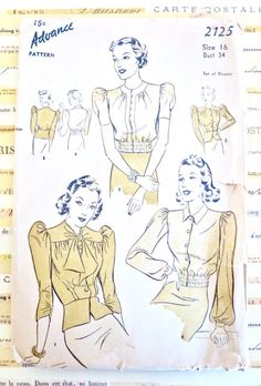 Advance 2125 - Vintage 1940s Womens Blouse Pattern with Peplum or Elasticized Waist by Fragolina on Etsy