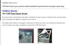 Our quality auto glass repair in Murrieta CA combines outstanding service with high quality auto glass repair, installation and windshield replacement. Visit CPR Auto Glass online to get your free online quote! #windshieldquoteMurrieta #autoglassrepairshopMurrieta #windshieldreplacementMurrieta #windowchiprepairMurrieta #windshieldcrackrepairMurrieta