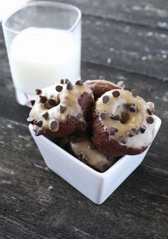 Chocolate Mini Donuts with Peanut Butter Glaze