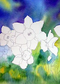 Ann's Watercolour Studio: Negative painting with daffodil leaves Watercolor Negative Painting, Watercolor Flowers, Painting & Drawing, Watercolour Tutorials, Watercolor Techniques, Watercolor Tips, Art Techniques, Arte Floral, Daffodils