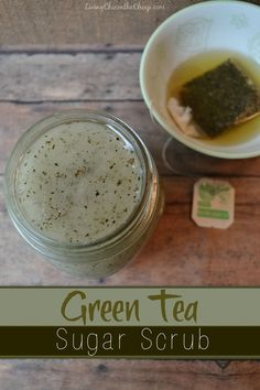 **Green Tea Sugar Scrub!** This is the fourth body scrub I have made for the blog and I have to say…it may be my favorite. I love Green Tea. I try to drink at least 2 cups a day. Green Tea is loaded with antioxidants and has antibacterial properties. If you aren't familiar with all recent studies on Green Tea, be sure to do a little Googling. It is really quite interesting. This Green Tea Sugar Scrub is so easy to make. #DIYbeauty #homemadebeauty #scrubs #greentea