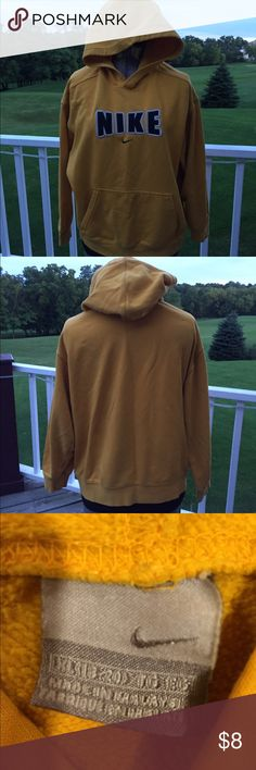 Nike hooded sweatshirt Kids XL hooded sweatshirt in gold and black. Will easily fit a ladies small. Preloved but has a lot of life left. Nike Shirts & Tops Sweatshirts & Hoodies