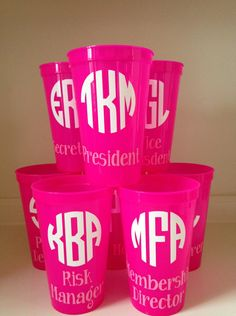 Sorority Executive Board Cups, Set of 8, Personalized Monogramed. $28.00, via Etsy.