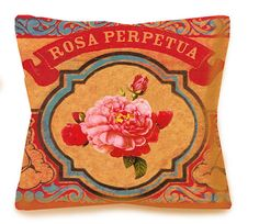 Mexican Rose Decorative Hispanic Pillow - ROSA PERPETUA - 16x16 or 18x18 - Linen backing - Southwestern Home Accents