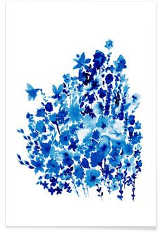 Floral Blue as Premium Poster by Amy Sia | JUNIQE UK