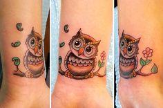 Photo of One Shot Tattoo - San Francisco, CA, United States. kewpie-owl on a very small wrist! by Joe Paul