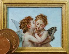 Miniature reproduction work. bouguereau. acrylic on cardboard.