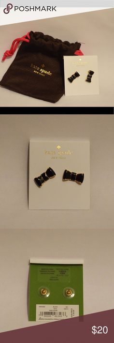 Kate Spade black bow earrings brand new A pair of brand new black bow Kate Spade earrings! Black and gold studs, with pouch included. kate spade Jewelry Earrings
