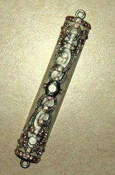 #Judaica #Mezuzah #Pearl White #Enamel Pink Champagne #Crystal Hammered Decor 10 cm