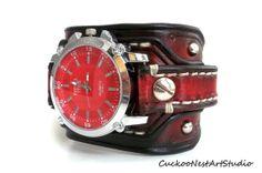 Watch cuff Mens Leather wrist watch  Men's by CuckooNestArtStudio, $98.00