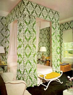 David Hicks Interior Designer GREEN FABRIC CANOPY BEDROOM