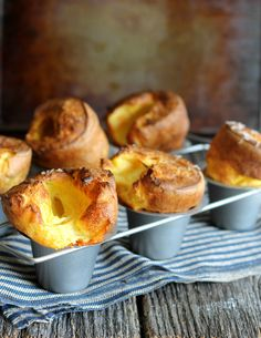 White cheddar popovers are just mix and bake. Use a popover pan and you& impress your guests with these pillows of cheesy goodness. Popover Recipe, Popover Pan, Strudel, Croissants, Bread Recipes, Cooking Recipes, Cheese Recipes, Cheese Dishes, Cooking Rice