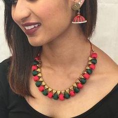 Handmade Silk Thread Necklace Set – Sarang Silk Thread Necklace, Thread Jewellery, Long Tassel Earrings, Necklace Set, Jewelry Sets, Handmade, Color, Fashion, Moda