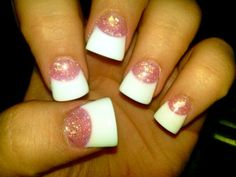 Pink And White Manicure   pink and white # glitter # french # fake nails