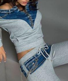 BY ALINA 2-Teiler Hausanzug Freizeitanzug Damen Hose Jacke Jogging XS S M #A373