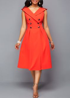 Outfit of the day, OOTD - V Neck Flare Dress Double Breasted Sleeveless Orange Red Dress. Party Dress Sale, Club Party Dresses, Trendy Dresses, Sexy Dresses, Casual Dresses, Beautiful Dresses, Red Dress Outfit, Dress Outfits, Dress Ootd