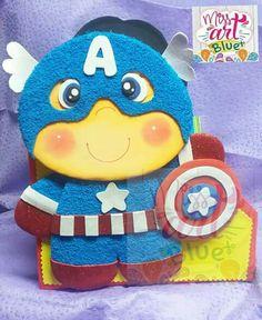 Capitán América animado Felt Dolls, Paper Dolls, Foam Crafts, Diy Crafts, Baby Superhero, Paper Piecing, Tweety, Avengers, Comic Books