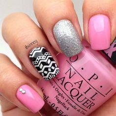Pink, glitter, silver nails. Tribal. Nail art. nail design. polish. OPI. by sinney