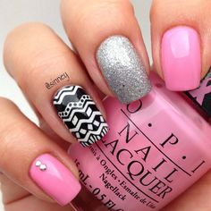 Pink, glitter, silver nails. Tribal. Nail art. nail design. polish. OPI. by sinney