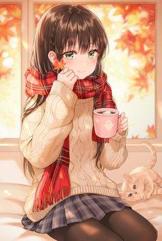 Staying Cozy - Everything About Anime Anime Neko, Kawaii Anime Girl, Manga Kawaii, Manga Cute, Pretty Anime Girl, Manga Anime Girl, Cool Anime Girl, Anime Girl Drawings, Cute Anime Pics