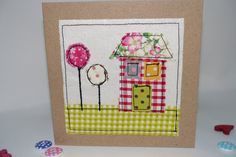 Handmade greeting card fabric card blank by fairydustandglitter