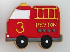 Firetruck Birthday Cookies