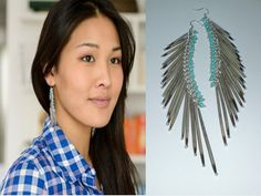 Porcupine Quill Tassel Earrings, Turquoise Earrings, Statement Earrings, Spiked Earrings, Tribal Earrings $70.99
