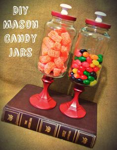 Mason candy jar tutorial. An awesome inexpensive Christmas gift!