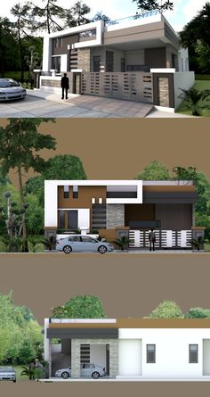 Building a Four Bedroom One Storey House for your lot requires at least meters frontage and meters depth or 260 square meters. Narrow House Designs, Modern Small House Design, Modern Bungalow Exterior, Bungalow House Design, Single Floor House Design, House Front Design, Building Elevation, House Elevation, Front Elevation