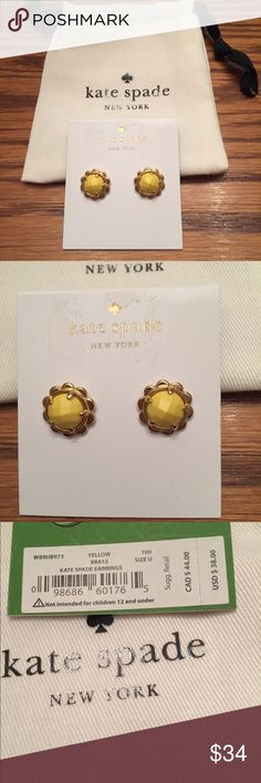 "Kate Spade♠️ Gold-Tone Stud earrings Stunning round stones are adorned with a scallop edge in these captivating stud earrings created by Kate Spade New York in gold-tone mixed metal approx diameter 1/4""  🌻NO TRADES 🌻OFFERS WELCOMED! 🌻BUNDLE TO SAVE  🌻FEEL FREE TO ASK ANY QUESTIONS kate spade Jewelry Earrings"