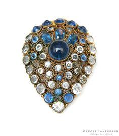 Fabulous Hobe brooch with clean and blue stones. #vintagecostumejewelry #vintagefashion #caroletanenbaum