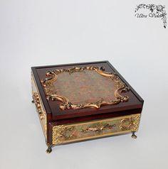 Schmuckbox / Schmuckkasten  box  mit Spiegel wood für