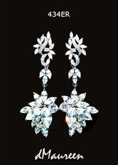343ER Long Marquis CZ Bridal Earrings. Big by dMaureenVastine