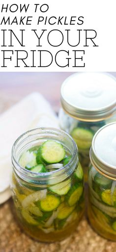 This constant back and forth led me to pull out my nana's recipe for refrigerator pickles. They are incredibly easy to make - especially if you are not a pickling expert! Crockpot Recipes, Vegan Recipes, Snack Recipes, How To Make Pickles, Best Pickles, Cucumbers And Onions, Refrigerator Pickles, Fried Pickles, Pickle Jars