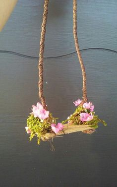 Fairy or Doll Flowered Swing by on Etsy The Effective Pictures We Offer You About Miniature Garden path A quality picture can tell you many things. You can find the most beautiful pictu Mini Fairy Garden, Fairy Garden Houses, Gnome Garden, Fairies Garden, Fairy Gardening, Diy Jardim, Fairy Village, Fairy Garden Furniture, Fairy Crafts
